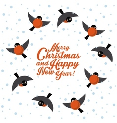 Christmas round dance bullfinches vector