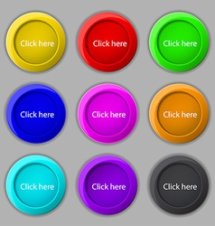 Click here sign icon Press button Set of colored vector image