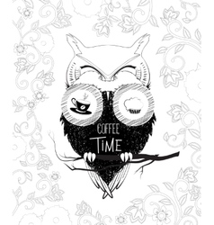 Coffee time owl in binoculars doodle vector