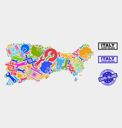 Collage technology capri island map and quality vector