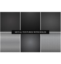 collection metal textures with holes vector image