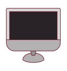 Colorful graphic of lcd monitor with dark red line vector