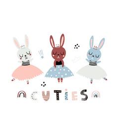 Cute cartoon bunny girls ballerinas in floral vector