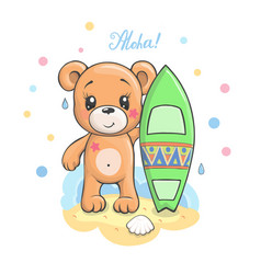 cute cartoon teddy bear with surfboard vector image