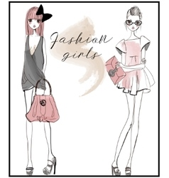 Cute fashion girls vector
