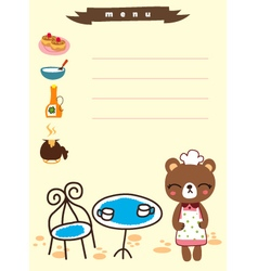 Cute menu cafe cartoon vector