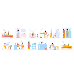 Daily women routine everyday woman work and vector