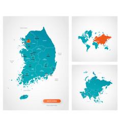 Editable template map south korea vector