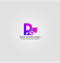 education logo template with p letter logo for vector image