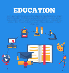 education poster with flat colorful icons vector image