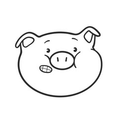 Emoji pig for coloring book vector
