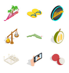Enjoyable icons set isometric style vector