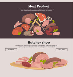 Farm meat sausages and delicatessen web vector