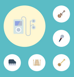 Flat icons octave keyboard banjo musical vector