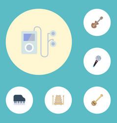 Flat icons octave keyboard banjo musical vector