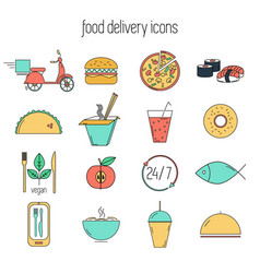 food ordering and delivery icons set vector image