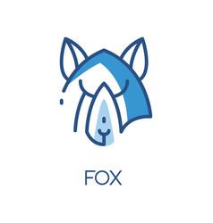 fox logo design blue label badge or emblem vector image