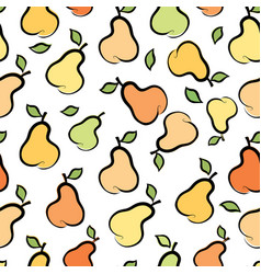 fruit silhouette seamless pattern pear ornamental vector image