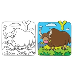 Funny wild yak coloring book Alphabet Y vector
