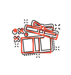 gift box icon in comic style magic case cartoon vector image