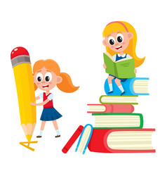 Girl reading on book pile writing with pencil vector