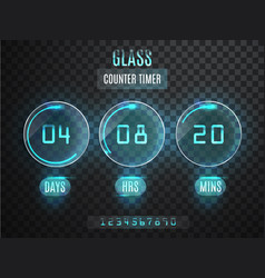 Glass counter timer transparent countdown vector