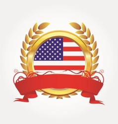 gold award with american flag vector image