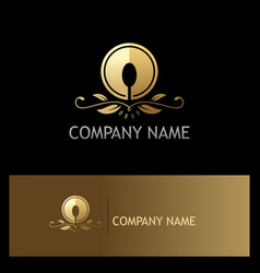Golden luxury food spoon logo vector