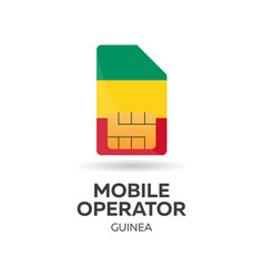 guinea mobile operator sim card with flag vector image