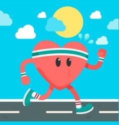 healthy cartoon heart running blue sky imag vector image
