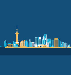 hong kong big asian city skyscrapers flat design vector image
