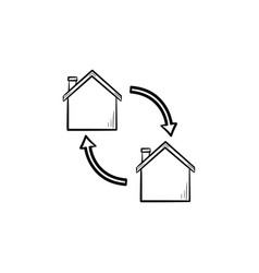house exchange hand drawn outline doodle icon vector image