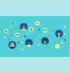 internet social network group concept flat design vector image