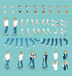 isometric male character constructor set vector image