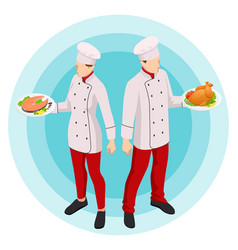Isometric online cooking classes concept online vector