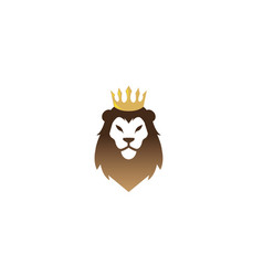 lion head with golden crown logo design vector image