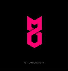 m and o ribbon monogram vector image