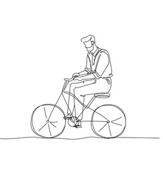man riding a bicycle - one continuous line design vector image
