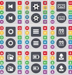 Media skip Ball Cassette Gear Apps Calendar Radio vector