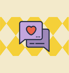 Message box and heart icons vector