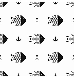 Monochrome fish pattern vector image
