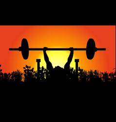 morning weightlifter in natural landscape sunrise vector image