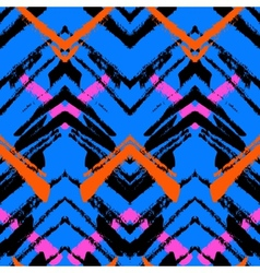 Multicolor hand drawn pattern with zigzag lines vector