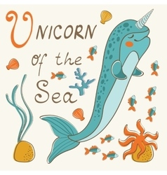 Narwhal the unicorn of the sea vector image