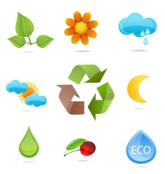nature green symbols set vector image vector image