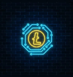neon litecoin currency sign with electronic vector image