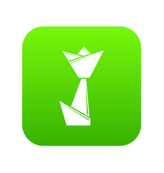 origami tulip icon green vector image