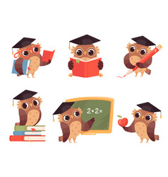 owl teacher cartoon bird characters with back to vector image