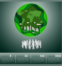 paper craft world environment day concept vector image