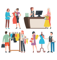People shopping cashier at counter shop consultant vector